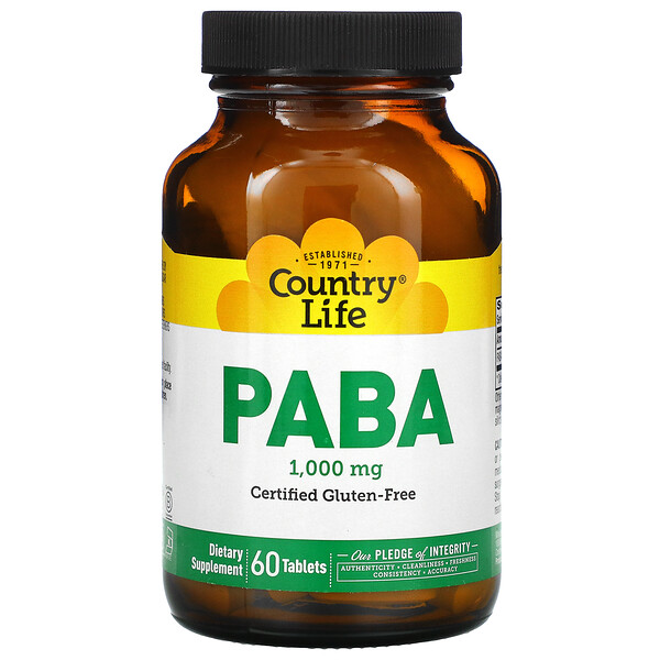 PABA, 1,000 mg, 60 Tablets