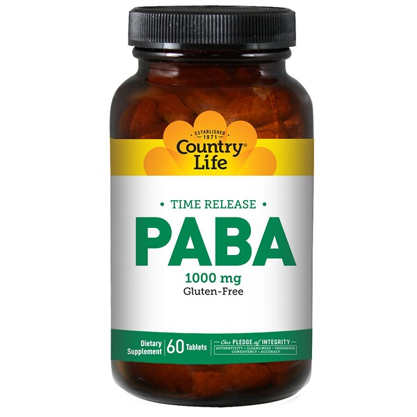 Country Life, PABA, Time Release, 1000 mg, 60 Tablets