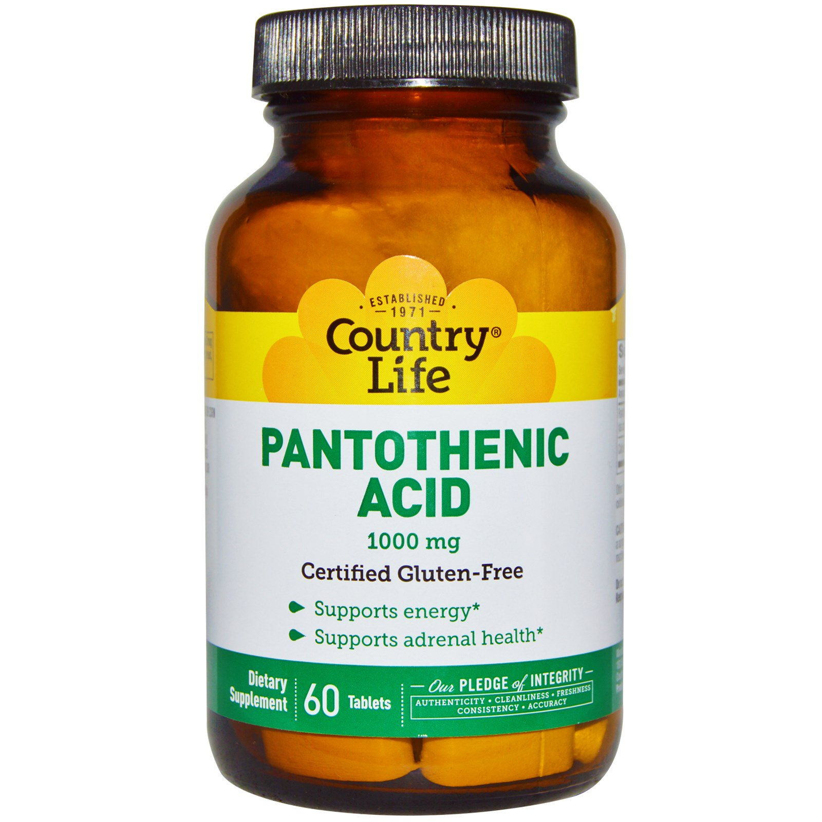 Country Life, Пантотеновая кислота, 1000 мг, 60 таблеток