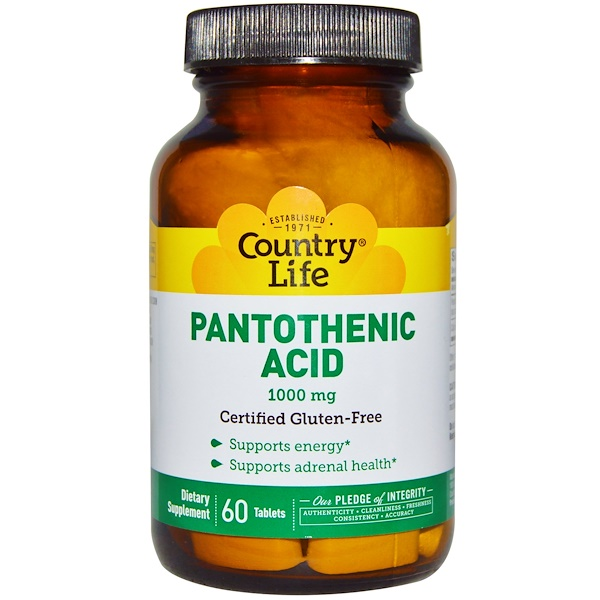 Country Life, Pantothenic Acid, 1000 mg, 60 Tablets
