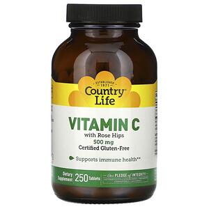 Кантри Лайф, Vitamin C with Rose Hips, 500 mg, 250 Tablets отзывы покупателей