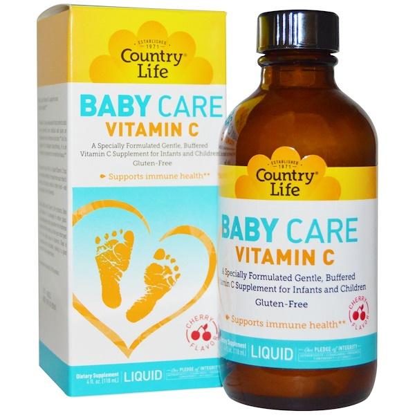 Country Life, Baby Care Vitamin C Liquid, Cherry Flavor, 4 fl oz (118 ml) (Discontinued Item)
