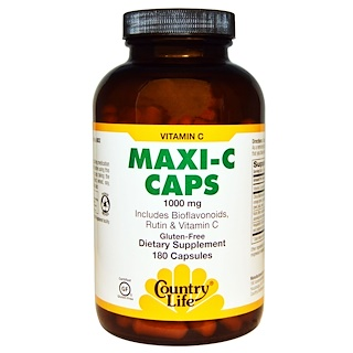 Country Life, Maxi-C Caps, 1000 mg, 180 Capsules