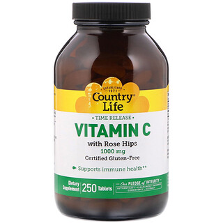 Country Life, ビタミンC, 薔薇の実を使用, 1,000 mg, 250錠