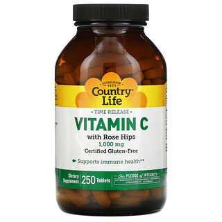 Country Life, Time Release Vitamin C with Rose Hips, 1,000 mg, 250 Tablets