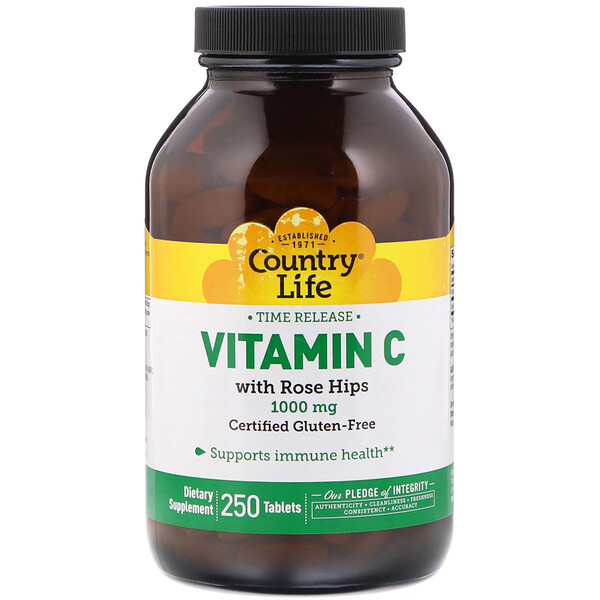 Country Life, Vitamin C with Rose Hips, 1,000 mg, 250 Tablets