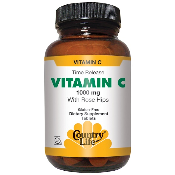 Country Life, Vitamin C, mit Hagebutten, 1000 mg, 250 Tabletten