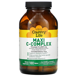Country Life, Maxi C-Complex, 1,000 mg, 180 Tablets