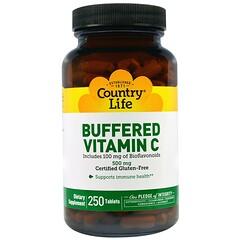 Country Life, バッファード(緩衝化)ビタミンC、500 mg、250 錠