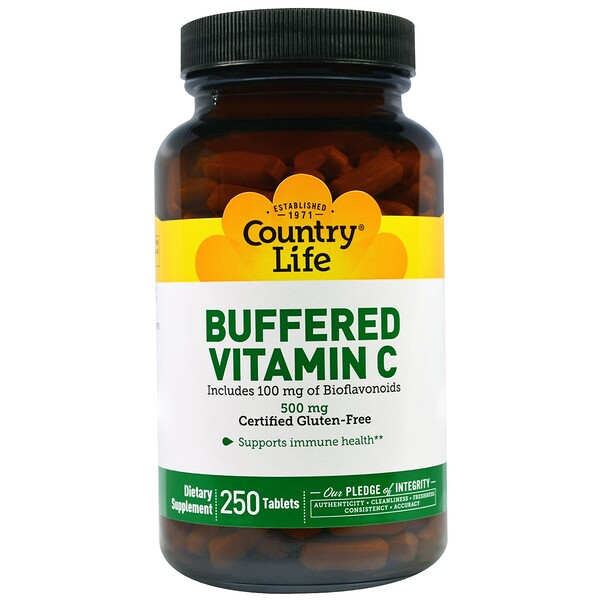 Country Life, 버퍼드 비타민 C(Buffered Vitamin C), 500 mg, 250 정