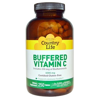 Country Life, Buffered Vitamin C, 1000 mg, 250錠入り