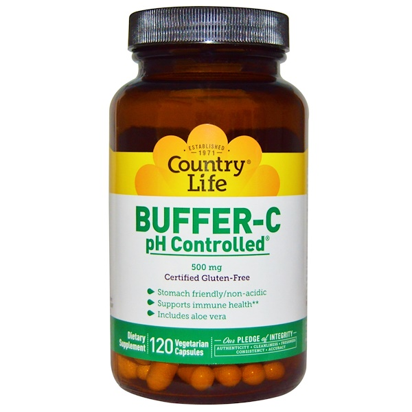 Country Life, Buffer-C, pH Controlled, 500 mg, 120 Veggie Caps