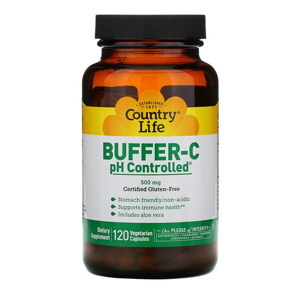 Country Life, Buffer-C pH Controlled, 500 мг, 120 вегетарианских капсул