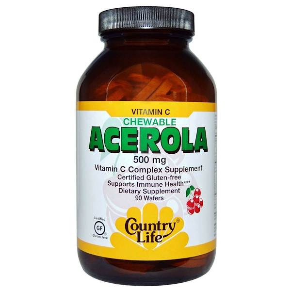 Country Life,  Acerola, Vitamin C Chewable, Cherry, 500 mg, 90 Wafers