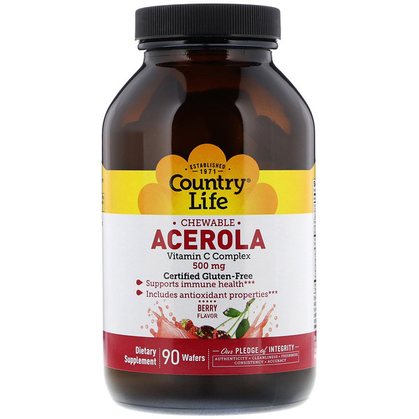 Country Life, Acerola, Vitamin C Chewable, Berry, 500 mg, 90 Wafers