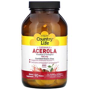 Кантри Лайф, Chewable Acerola, Vitamin C Complex, Berry, 500 mg, 90 Wafers отзывы