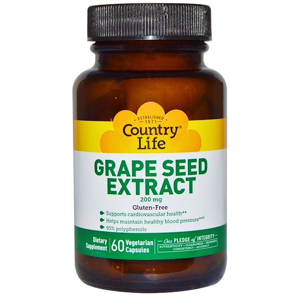 Country Life, Grape Seed Extract, 200 mg, 60 Veggie Caps (Discontinued Item)