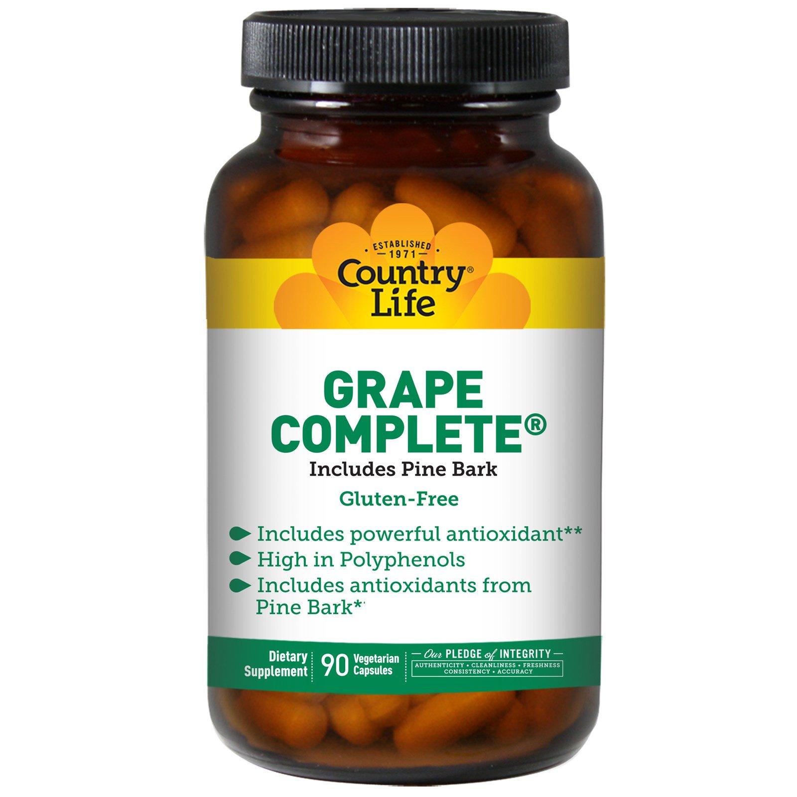 Country Life, Grape Complete, включает сосновую кору, 90 вегетарианских капсул