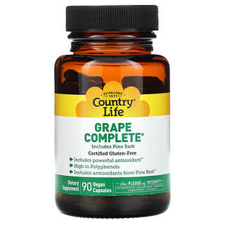 Country Life, Grape Complete, Includes Pine Bark, 90 Vegan Capsules