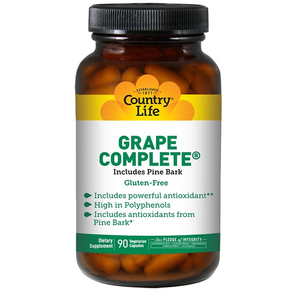 Country Life, Grape Complete, incluye corteza de pino, 90 cápsulas vegetales