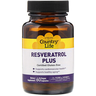 Country Life, Resveratrol Plus, 60 Vegan Caps