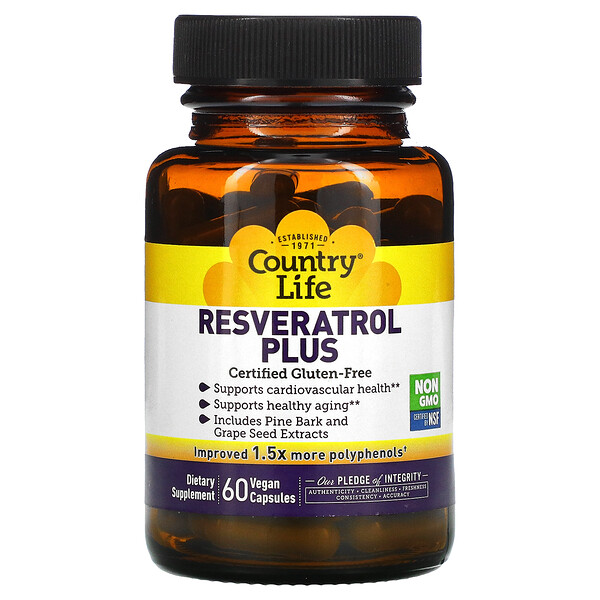 Country Life, Resveratrol Plus, 60 Vegan Capsules