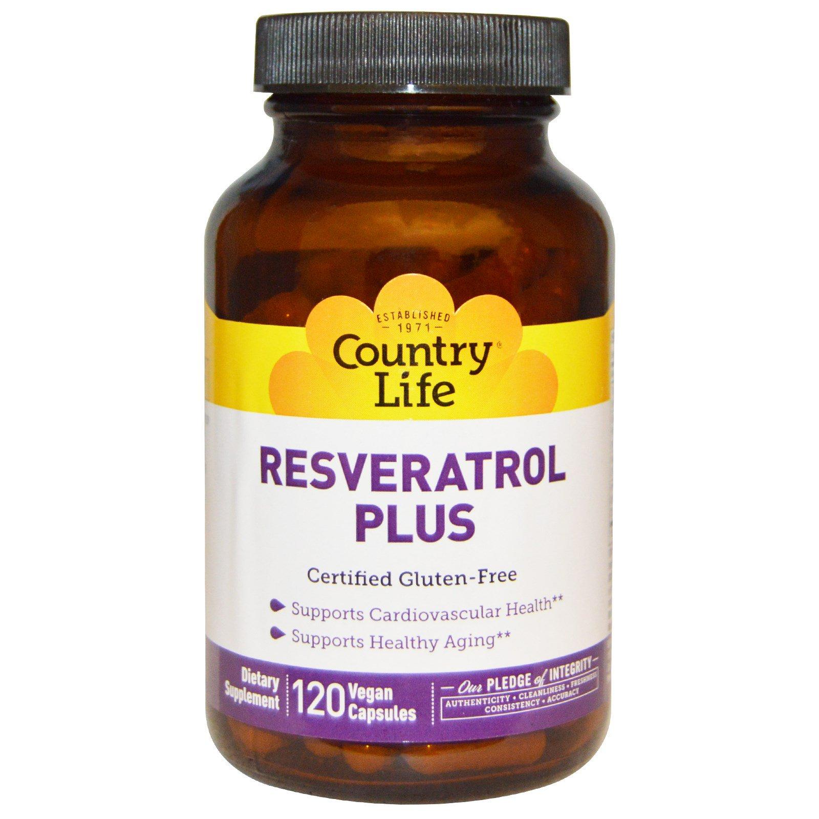 Country Life Resveratrol Plus 120 Vegan Capsules Iherb