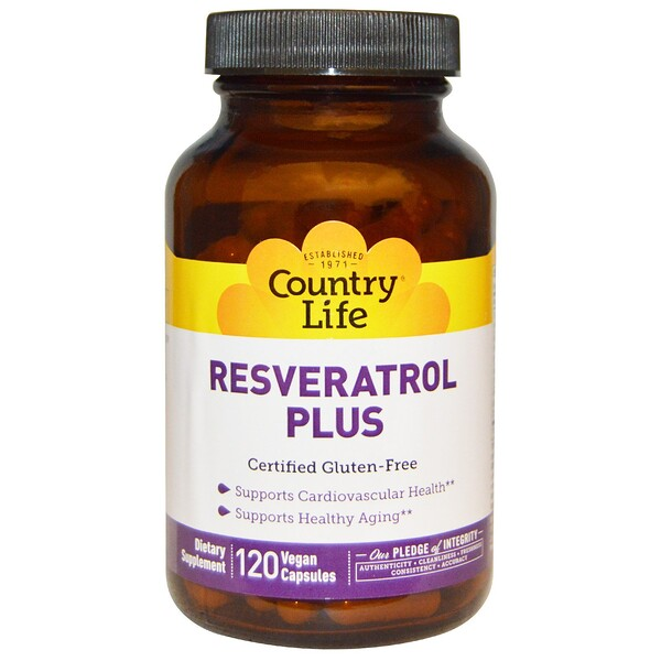 Country Life, Resveratrol Plus, 120 Vegan Capsules