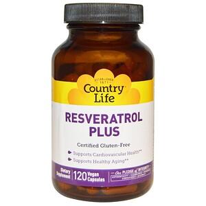 Кантри Лайф, Resveratrol Plus, 120 Vegan Capsules отзывы