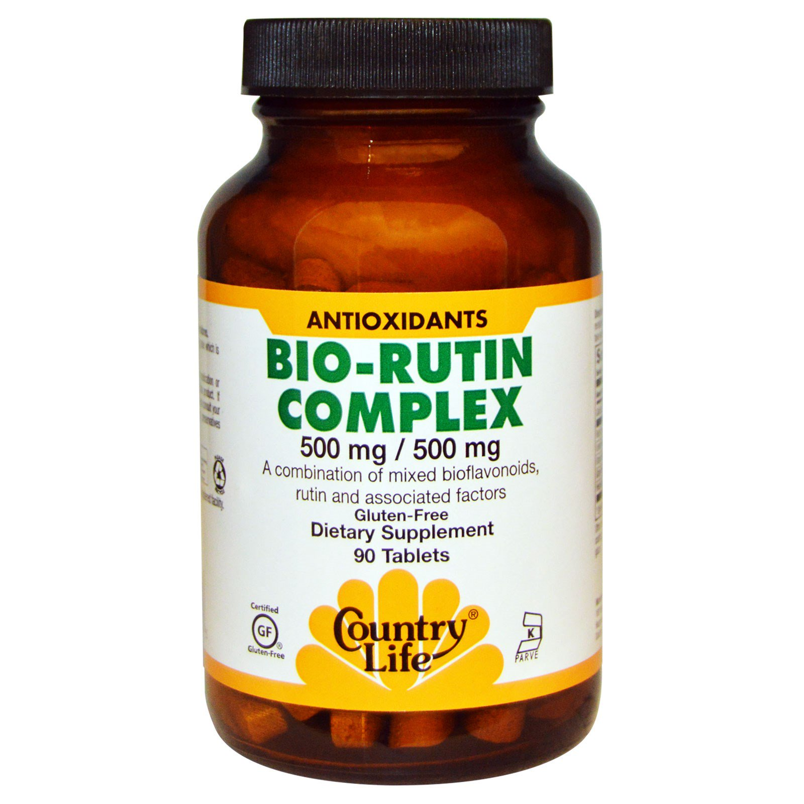 Country Life, Комплекс био-рутина, 500 мг / 500 мг, 90 таблеток