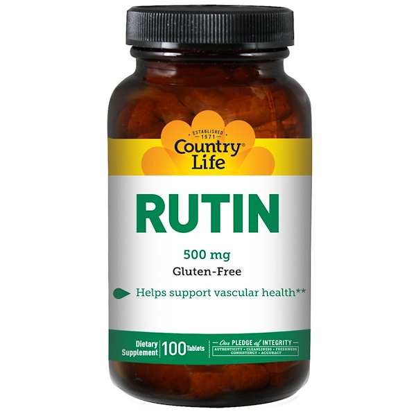 Country Life, Rutina, 500 mg, 100 tabletas