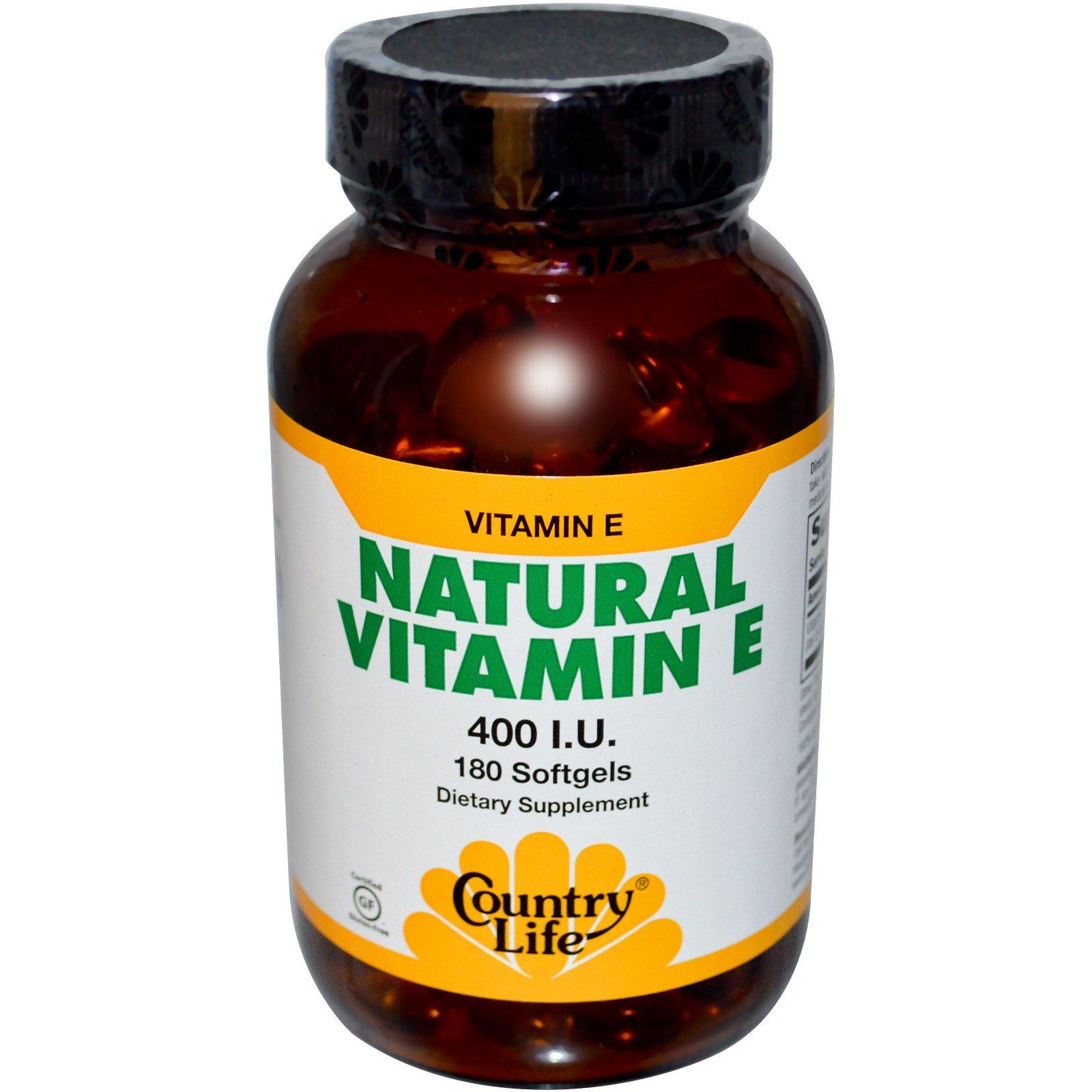 Country Life, Натуральный витамин Е, 400 МЕ, 180 гелевых капсул