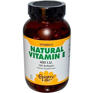 Кантри Лайф, Natural Vitamin E, 400 IU, 180 Softgels отзывы