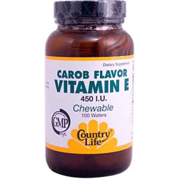 Country Life, Vitamin E Chewable, Carob Flavor, 450 IU, 100 Wafers (Discontinued Item)