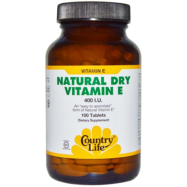 Country Life, Natural Dry Vitamin E, 400 IU, 100 Tablets (Discontinued Item)