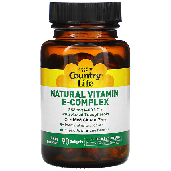 Natural Vitamin E-Complex with Mixed Tocopherols, 268 mg (400 IU), 90 Softgels