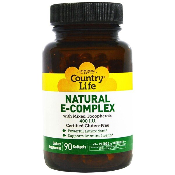 Natural E-Complex, with Mixed Tocopherols, 400 IU, 90 Softgels
