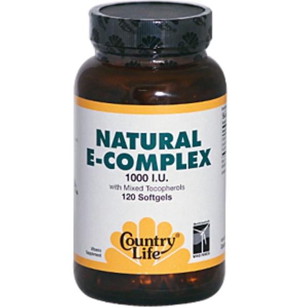 Country Life, Natural E-Complex, with Mixed Tocopherols, 1000 IU, 120 Softgels (Discontinued Item)