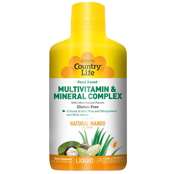 Country Life, 食品ベースのマルチビタミン&ミネラル複合体, 天然マンゴー風味, 32液量オンス(944 ml) (Discontinued Item)