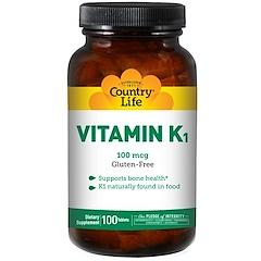 Country Life, Vitamin K1, 100 mcg, 100 Tablets