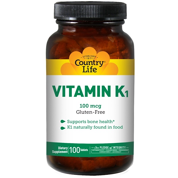 Country Life, Vitamin K1, 100 mcg, 100 Tablets