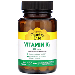 Кантри Лайф, Vitamin K1, 100 mcg, 100 Tablets отзывы покупателей
