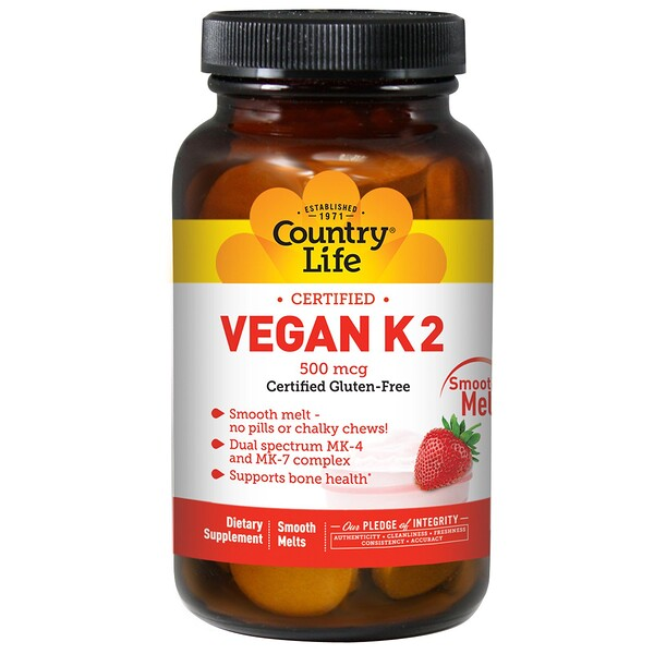 Country Life, Vegan K2, Strawberry, 500 mcg, 60 Smooth Melts