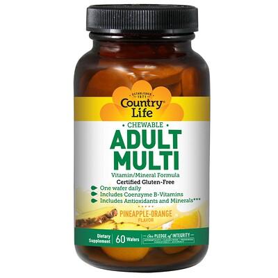 Купить Country Life Adult Multi, Chewable, Pineapple-Orange, 60 Wafers