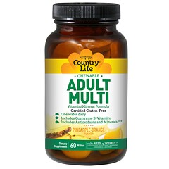 Country Life, Adult Multi, Chewable, Pineapple-Orange Flavor, 60 Wafers