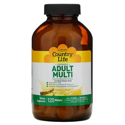 Купить Country Life Chewable Adult Multi, Pineapple-Orange, 120 Wafers