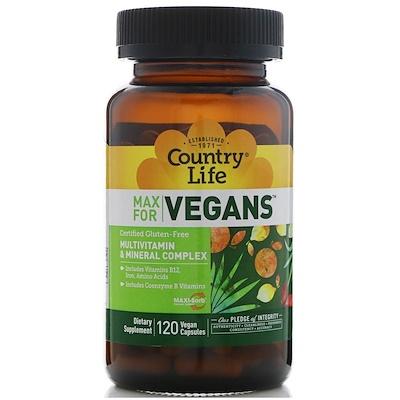 Max for Vegans, мультивитаминный и минеральный комплекс, 120 веганских капсул