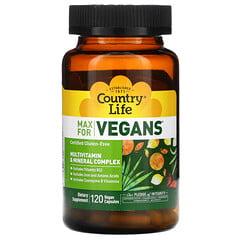 Country Life, Max for Vegans,多維生素和礦物質複合物,120 粒全素膠囊