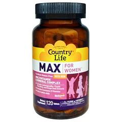 Country Life, 여성용 맥스, 멀티비타민 & 미네랄 컴플렉스, 철분 포함, 120 타블렛