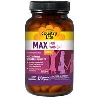 Max, для женщин, мультивитаминный и минеральный комплекс, не содержит железа, 120 вегетарианских капсул - фото